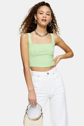 Topshop Womens Green Double Seam Crop Vest - Green
