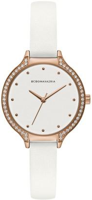 BCBGMAXAZRIA Classic Rose Goldtone Leather-Strap Watch