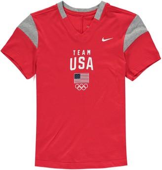 Nike Girls Youth Red Team USA Fan V-Neck T-Shirt