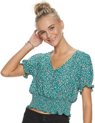 Candies Juniors' Candie's Smocked Button Front Top