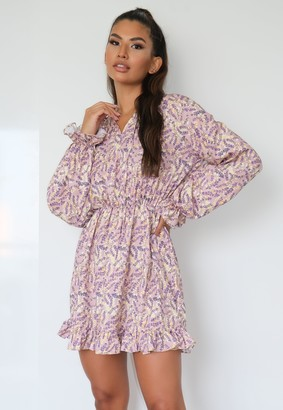 Missguided Blush Floral High Neck Keyhole Puff Sleeve Mini Dress