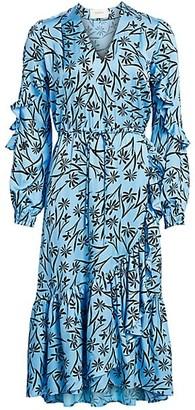 MUNTHE Justin Floral Ruffle Midi Dress