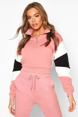 boohoo Half Zip Colour Block Crop Sweatshirt