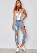Missy Empire Vivena Blue Extreme Ripped Mom Jeans