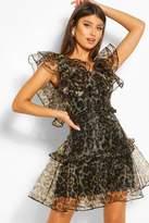 boohoo Leopard Print Organza Ruffle Mini Dress