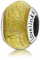 Lovelinks 925 Sterling Silver Metallic Yellow with White Design Murano Glass Bead