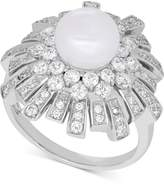 Arabella Cultured Freshwater Pearl (8mm) and Swarovski Zirconia Ring in Sterling Silver, Created for Macy's