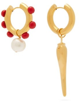 Timeless Pearly Chilli Pepper Pearl & Gold-plated Hoop Earrings - Gold