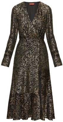 Altuzarra Martha V-neck Devore-velvet Midi Dress - Black