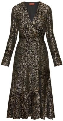 Altuzarra Martha V-neck Devore-velvet Midi Dress - Womens - Black