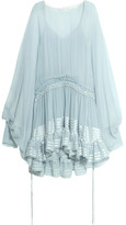 Chloé Ruffled Silk-mousseline Dress - Blue