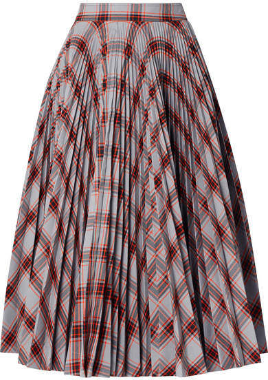 Calvin Klein Pleated Checked Twill Midi Skirt - Red