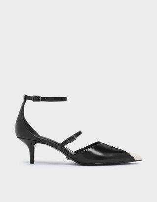 Charles & Keith Two-Tone Zigzag Detail Leather Mary Jane Kitten Heels