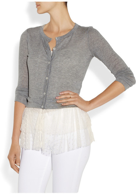 Clu Jersey and point d'esprit cardigan