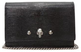 Alexander McQueen Skull Lizard-effect Leather Clutch Bag - Womens - Black