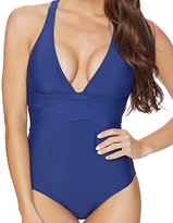 Athena Women's Plus Size Alana Solid Removable Soft Cup Cross Back One Piece Swimsuit