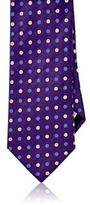 Barneys New York MEN'S POLKA DOT JACQUARD NECKTIE-PURPLE
