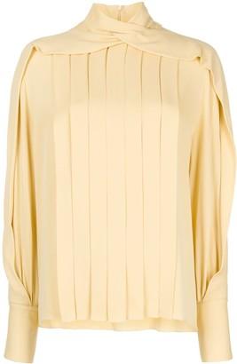 The Row Gilia pleated silk blouse