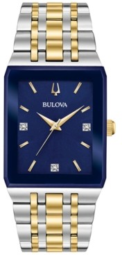 Bulova Men's Futuro Diamond Accent Two-Tone Stainless Steel Bracelet Watch 30x45mm