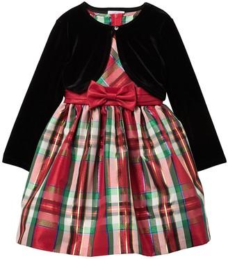 Iris & Ivy Christmas Cardigan & Plaid Dress (Little Girls)