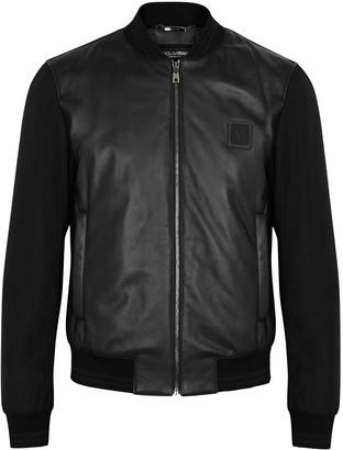 Dolce & Gabbana Black leather and shell bomber jacket