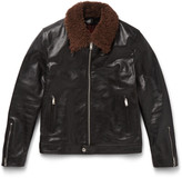 Alexander Mcqueen - Slim-fit Shearling-trimmed Grained-leather Jacket