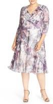Komarov Plus Size Women's Floral Chameuse & Chiffon V-Neck Dress