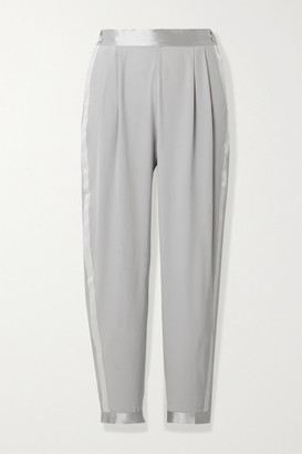 Fleur Du Mal Cropped Satin And Grosgrain-trimmed Silk-crepe Tapered Pants - Stone