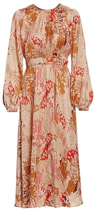 By Ti Mo Satin Puff-Sleeve Midi Dress