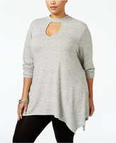 ING Trendy Plus Size Mock-Neck Cutout Sweater