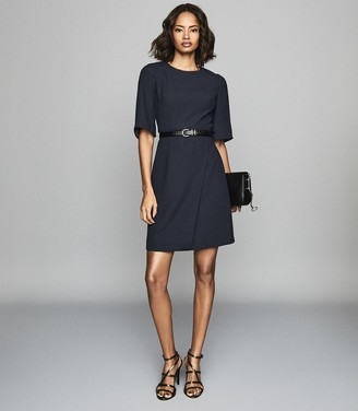 Reiss Myra - Tailored Wrap Front Dress in Navy