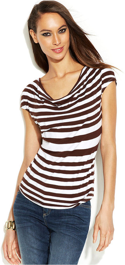 INC International Concepts Cap-Sleeve Striped Cowl-Neck Top