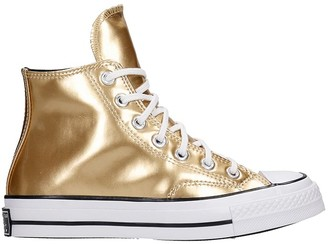 Converse Chuck 70 Hi Sneakers In Gold Leather