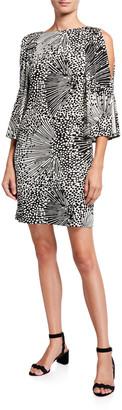 Trina Turk Kouyou Sparkle Print Cold-Shoulder Slinky Jersey Shift Dress