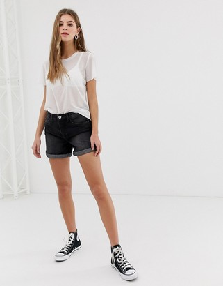 Only Dana roll hem denim shorts-Black