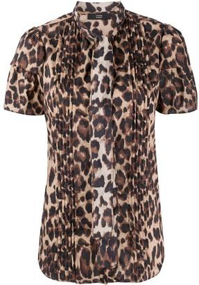 Steffen Schraut Leopard Pattern Pleated Blouse
