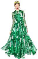 Dolce & Gabbana Leaves Printed Silk Chiffon Gown