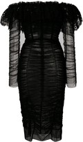 Dolce & Gabbana Lace And Ruched Sheer Dress
