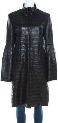 Escada Black Coated Wool Flounce Sleeve Zip Front Long Coat M