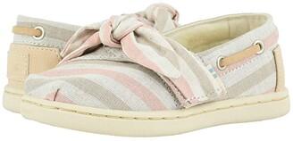 TOMS Kids Bimini (Toddler/Little Kid) (Salmon Woven Stripe/Synthetic Trim) Girl's Shoes