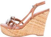 Prada Beaded Wedge Sandals