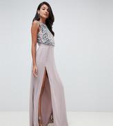 Asos Tall DESIGN Tall crop top embellished maxi dress