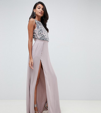 Asos Tall ASOS DESIGN Tall crop top embellished maxi dress