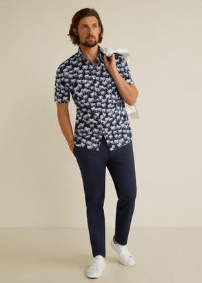 MANGO MAN - Hawaiian print shirt dark navy - S - Men