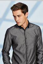 Grey Textured Regular Fit Contrast Collar Shirt