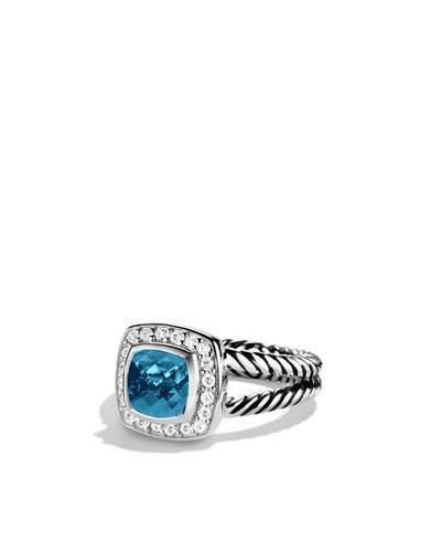 David Yurman Petite Albion Ring with Hampton Blue Topaz and Diamonds