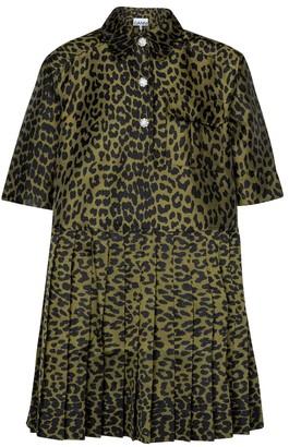 Ganni Leopard-print jacquard minidress
