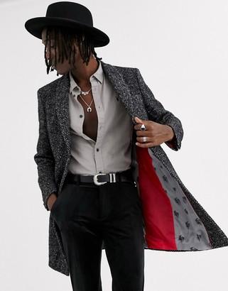 Twisted Tailor overcoat in dark grey herringbone