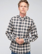 Fjallraven Shirt In Check Flannel Slim Fit White