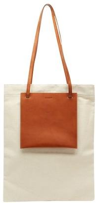 Jil Sander Slip-pocket Leather And Canvas Tote Bag - Beige